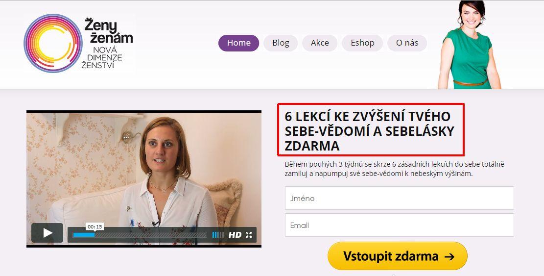 ukázka dobrého nadpisu na webu