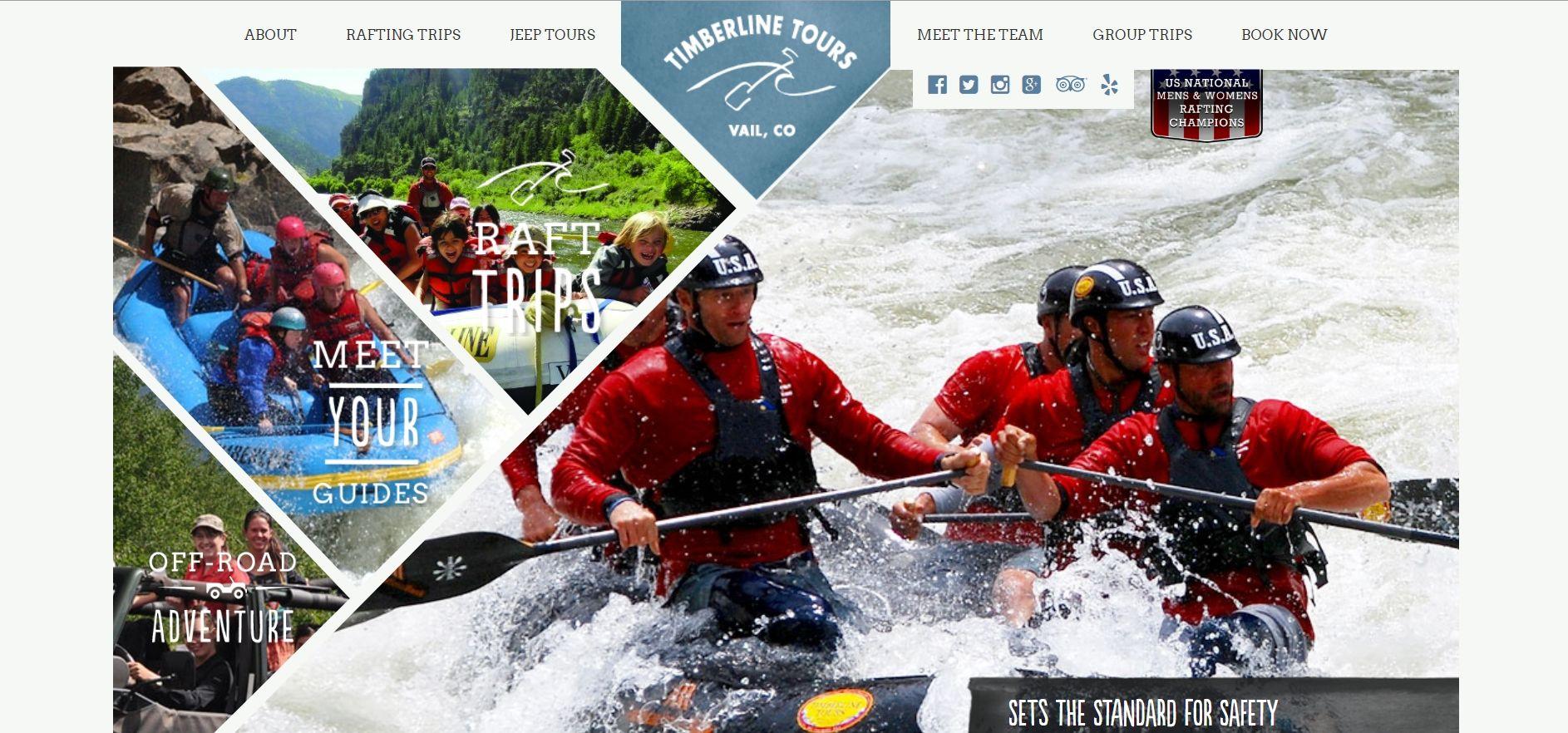 Ukázka asymetrického layoutu na webu timberlinetours.com