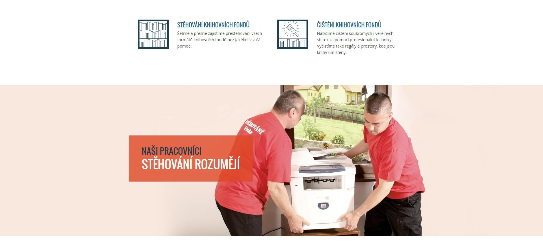 Ukázka využití autentické fotky místo fotobankové na webu stehovanipraha.cz