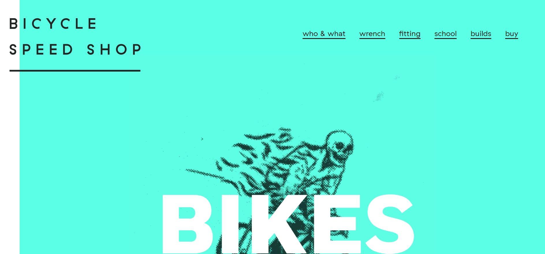Ukázka využití výrazné barvy v designu stránky na bicyclespeedshop.co