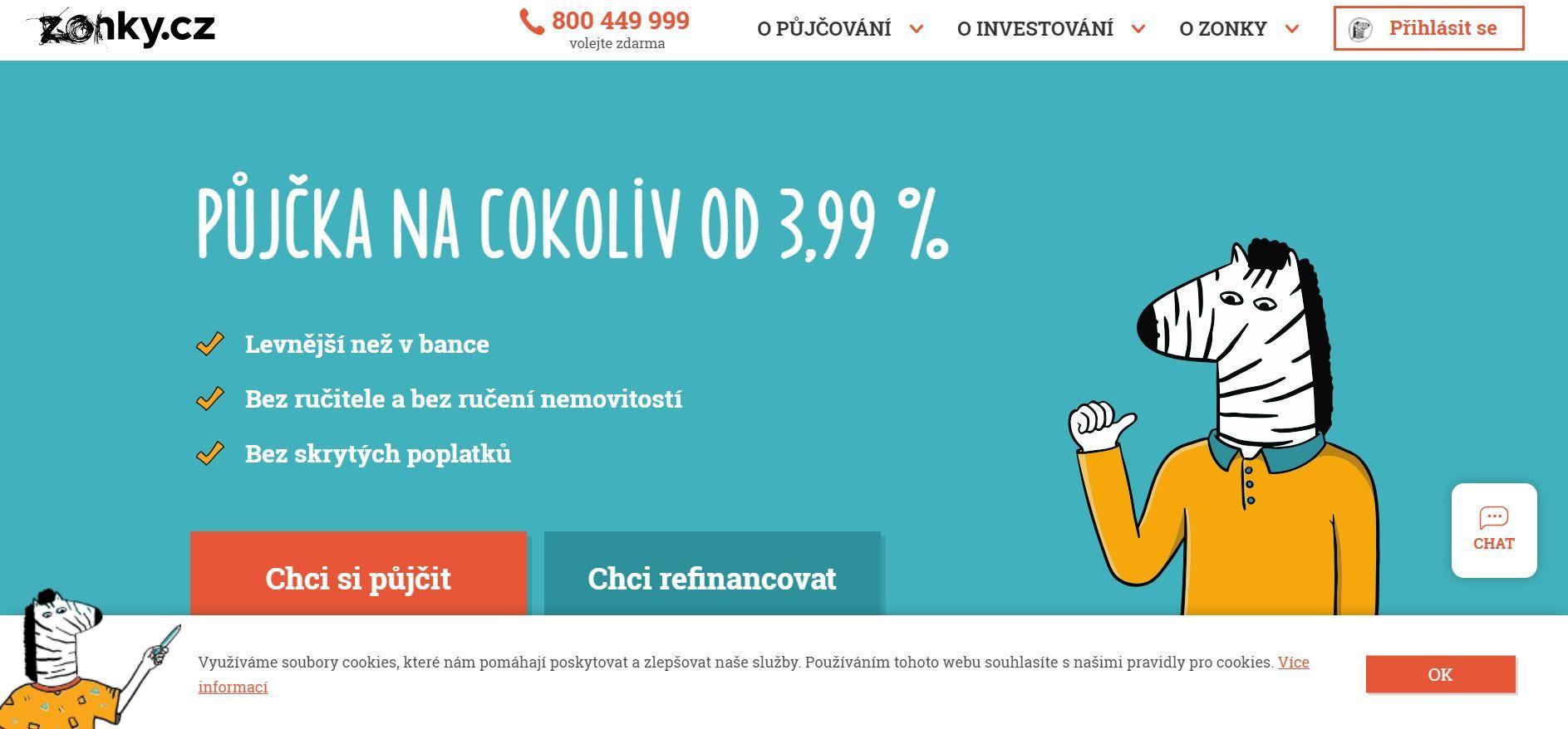 Ukázka nápaditých ilustrací nahomepage Zonky.cz