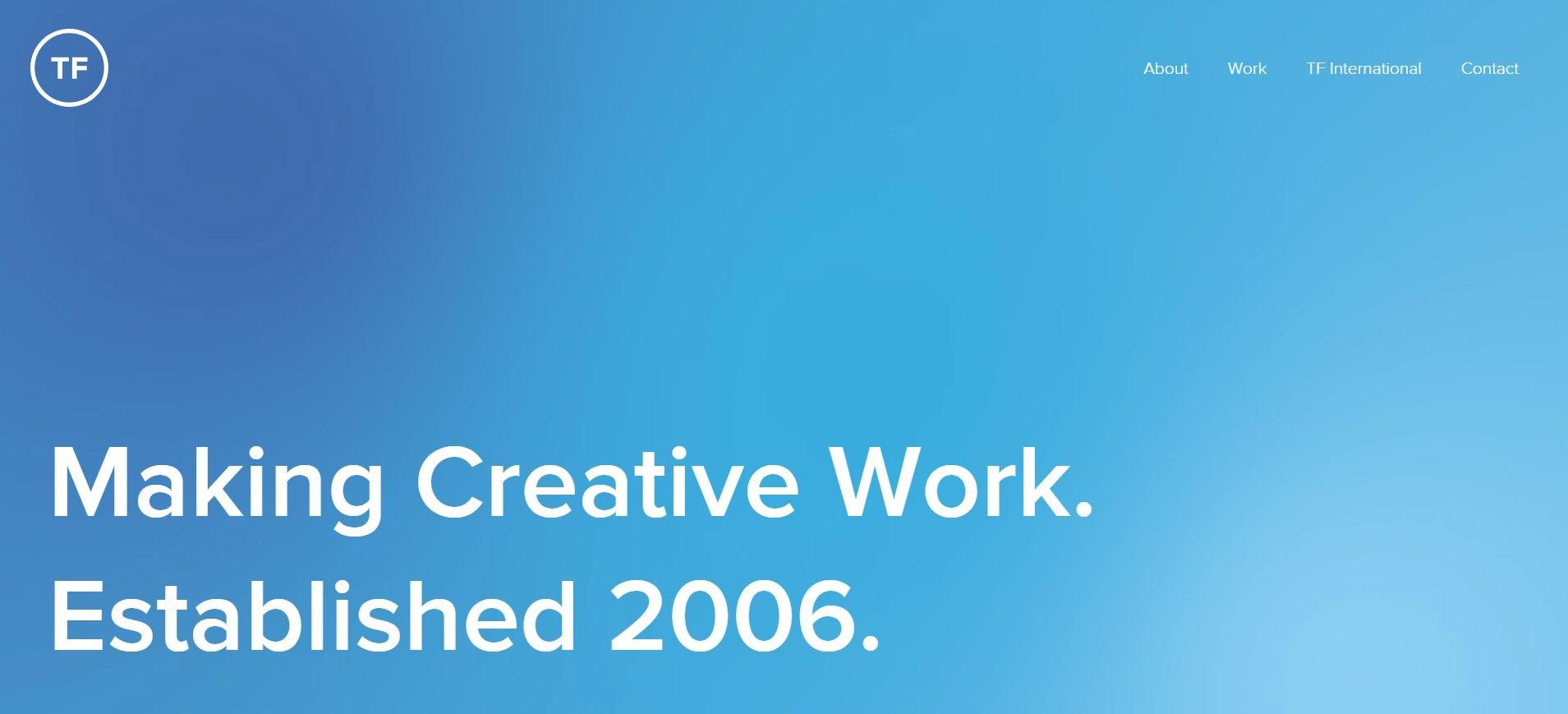 Ukázka využití velkého fontu na webu theobaldfox.com